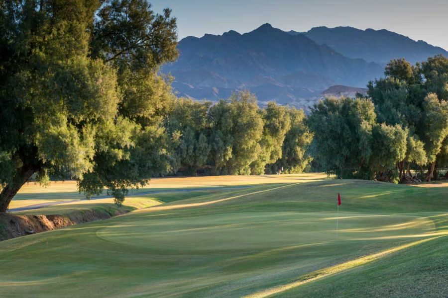 The Furnace Creek Golf Course on a sunny day.