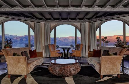 A luxurious seating area has stunning panoramic views of Death Valley National Park.