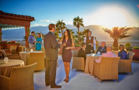 A catered event on the 4th Floor Deck of the Inn at Death Valley, with stunning views.