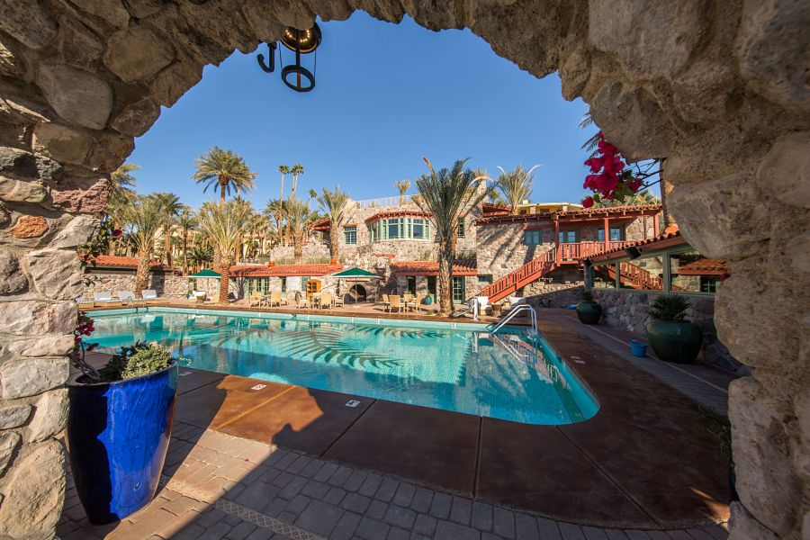 View of Pool Through an Arch